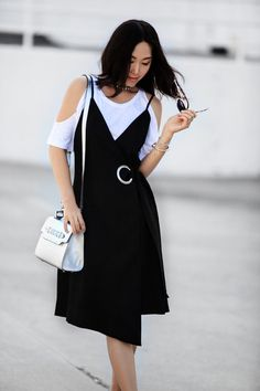 C/MEO Collective 'On the Line' Grommet Wrap Dress, Fall style, street style, casual style, Rag & Bone/JEAN Show Off Tee, Prada Metallic Wing-Tip Platform Loafer, People by People metallic bag, Dior so real sunglasses, D-ring dress, wrap dress, layered look