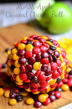 M&M Caramel Apple Dessert Cheese Ball | willcookforsmiles.com #apple #caramel #dessert
