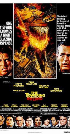 The Towering Inferno Trivia on IMDb: Cameos, Mistakes, Spoilers and more. Survival Film, The Towering Inferno, The Poseidon Adventure, Robert Vaughn, Disaster Movie, Irwin Allen, Jennifer Jones, Faye Dunaway
