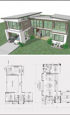 Sims 4 Modern House, Big Modern Houses, Modern Glass House, Modern House Floor Plans, Home Design Floor Plans, Contemporary House Plans, Dream House Plans, Modern House Design, Glass House Design