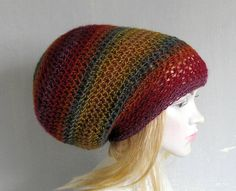 Crochet Tam Slouch Hat  Slouchy Tam Dread Hat Hipster Hat