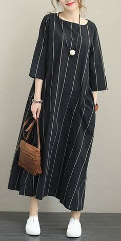 Name: Striped Loose Maxi Dress For Women Fabric: Fabric has no stretchSeason: Spring,FallType: Dress Sleeve Length: Long sleeveColor: Black,BeigeDresses Length: MaxiStyle: CasualMaterial: Co Casual Summer Dresses, Trendy Dresses, Dress Casual, Summer Maxi, Winter Maxi, Summer Outfits, Fall Winter, Dress Winter, Casual Winter