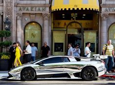 Chrome Lamborghini Murcielago... Too bad the people that pinned this originally thought it was chrome... WHITE GOLD LAMBORGHINI MURCIELAGO!!!