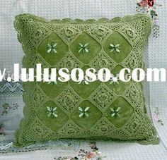 ribbon embroidery and crochet - http://spanish.alibaba.com/product-gs/ribbon-embroidery-hand-crochet-cushion-232644825.html