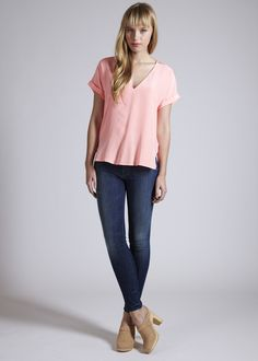 Rory Beca: Rolled Asymm Blouse #bucksanddoes #denim #pink