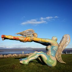 The Venus and Cupid statue by Shane Johnstone on Morecambe Sea front with its seasonal addition of angel wings. Photo by Johnny Bean (www.beanphoto.co.uk)