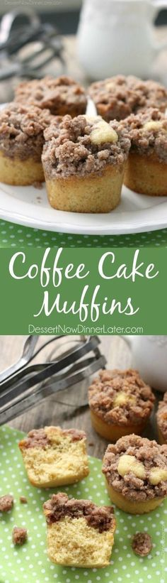 These coffee cake muffins have a moist, buttery yellow cake, and are topped with lots of crunchy, sweet cinnamon streusel. Perfect for breakfast or brunch!