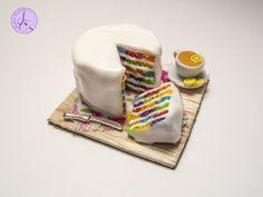 Tutorial: Torta Rainbow Scacchiera in Fimo (polymer clay rainbow chessboard cake) - YouTube
