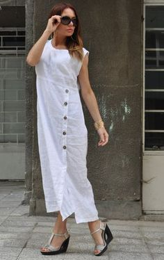 Linen Dress, Shirt Dress, Linen Clothing ►White Summer Party dress for women. White party outfits for women. EUG Fashion offers handcrafted contemporary womenswear where fashion and freedom collide. ►This gorgeous white linen dress wil White Dresses For Women, White Maxi Dresses, Linen Dresses, White Women, Flowing Dresses, Dress Red, Long Summer Dresses, White Dress Summer, Dress Long