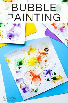 Bubble painting is a fun way to create art without a paint brush! With just a few basic supplies, these colorful paintings are easy to make with the kids. #craftingwithkids #bubblepainting #messycrafts #kidspiration