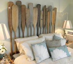 Achterwand bed van roeispanen - natuurlijk van hout