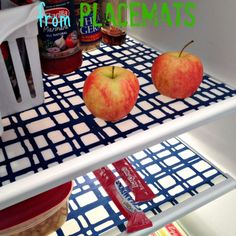 Banish sticky shelves! $2 DIY Fridge Mats From Vinyl Placemats