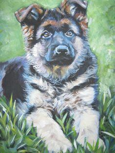 German Shepherd dog art CANVAS print of LA Shepard painting Animal Paintings, Animal Drawings, German Shepherd Painting, German Shepherd Puppies, German Shepherds, Dog Portraits, Dog Art, Canvas Art Prints, Images