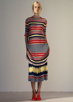 Dress in Jacquard Striped Knit - Spring / Summer Collection 2015 | CÉLINE