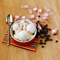 Peppermint chocolate chip ice cream