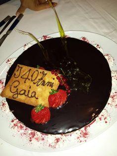 40th Birthday party. Wonderful cake made with chocolate hazelnuts and raspberry.