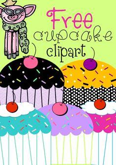 Free Clipart - 5 Cupcakes 300 dpi #freebie #sweets