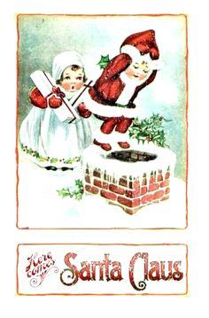 vintage Christmas two kids on rooftop, boy dressed as Santa jumping in chimney