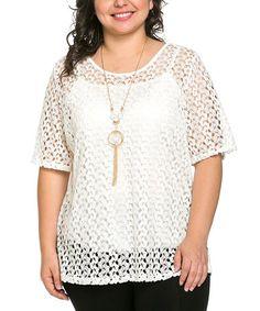 Look at this #zulilyfind! White Crochet Scoop Neck Top & Necklace - Plus by Essential Collection #zulilyfinds