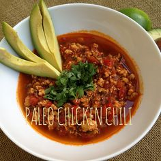 This chicken chili recipe is delightfully fresh and light tasting. It& entirely gluten-free and paleo, and super easy to make for dinner. Paleo Chicken Chili Recipe, Chili Recipes, Soup Recipes, Turkey Recipes, Dairy Free Recipes, Paleo Recipes, Cooking Recipes, Gluten Free, Clean Eating Dinner