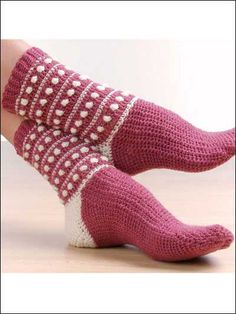 Polka Dot Popcorn Socks -- Crochet these unique popcorn socks using sport sock yarn and an E hook. Skill Level: Easy Designed by Mary Jane Wood