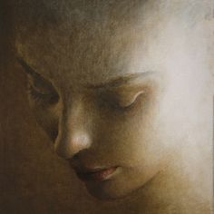 """Saatchi Online Artist: Ilir Pojani; Oil, 2013, Painting """"Young woman looking downwards"""""""