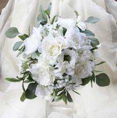 White wedding bouquet. Garden roses, lissianthus, gardenia, sweet peas, eucalyptus and olive foliage. Silk bouquet, bridal, wedding flowers