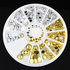Gold & Silver Different Sizes Bead Charms Nail Art DIY Decoration Wheel