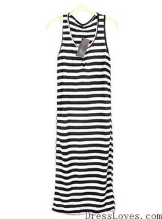 Women Black Cotton Stripped Tank Free Size Long Dress@A3014b