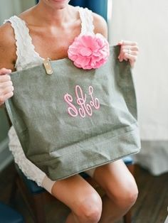 monogrammed bags .. bridesmaid gift idea.