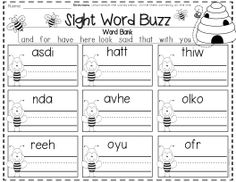 Kindergarten printables and activities for February. Like this one, students will unscramble the sight word and write it correctly on the line.