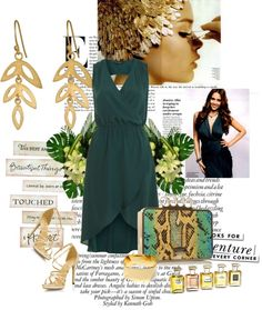 """""""green wrap dress"""" by esterp on Polyvore"""