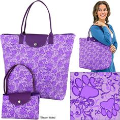Purple Paw Swirl Fold-up Tote Bag at The Animal Rescue Site