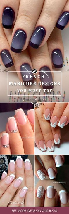 41 New French Manicure Designs To Modernize The Classic Mani 41 New French Manicure Designs To Modernize The Classic Mani,My Fave Nail Polish/Art/Design Designs of French manicure are much more intricate this season. New French Manicure, French Manicure Designs, French Manicures, Nail French, French Pedicure, Gel Nails French Tip, French Tips, French Grey, Black French Nails