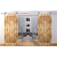 12FT Country Stainless Steel Sliding Barn Wood Double Door Hardware Set Antique