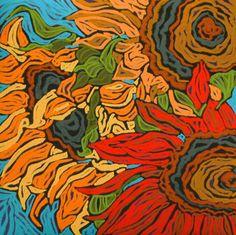 Sunflowers in soft pastel by California artist Monique Straub. www.moniquestraub.com