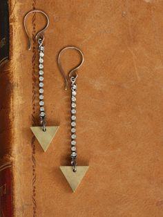 Arrowhead Earrings - Brass Triangle and Rhinestone Earrings by Prairieoats