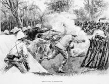 Combat de Dogba au Dahomey. In 1882, France declared a protectorate over Porto Novo, a vassal state of Abomey, without consulting with the indigenous people. They occupied the entire coastal strip.  The King of the Fon people declared war in 1889.