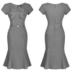 Sophisticated 1940s-style houndstooth hourglass dress with a perfectly pleated, flared hemline. Flattering and feminine silhouette, with a seamed bodice, bow-adorned sweetheart neckline, cap sleeves and wide waistline with decorative button detail. Unlined, rear zipper closure, hand wash. Note: this gal has just a pinch of stretch and runs a bit small; we recommend ordering one size up. Also available in scarlet or myrtle.