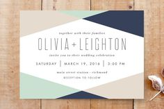 """Minimal Mod"" - Modern Wedding Invitations in Mint by carly reed walker."