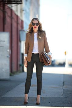 coated jeans with camel blazer and blouse