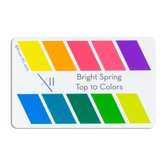 """A credit card sized card with the top 10 colors for your seasonal tone 2""""x3"""". Can be laminated, or presented in a clear plastic envelope for protection Pop it in your wallet, with your credit cards, and never be without an accurate color swatch of your 10 most flattering colors"""