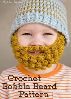free pattern for a crochet bobble beard to attach to your favorite beanie, extra small, small, medium and large linked to a free multi-sized beanie pattern