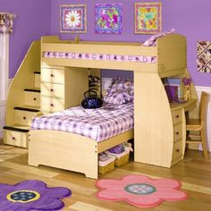 Have always loved bunk beds.  Love this one because you can pick colorful knobs to match decor and it has two twins, a desk, and drawers.