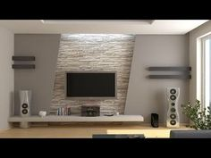Stone wall and decoration living room tv wall decor, modern tv wall, Modern Tv Cabinet, House Design, Room Design, House Interior, Modern Tv Wall Units, Home, Living Room Tv, Ceiling Design, Living Room Designs