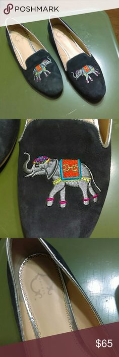 C. Wonder Navy Suede Elephant Flats C. Wonder navy elephant loafers in excellent condition.  Soles have very minor wear.  Cute embroidered elephants, silver lining!  True to size. C. Wonder Shoes Flats & Loafers
