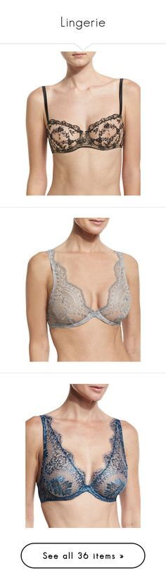 """""""Lingerie"""" by bnt-cool on Polyvore featuring intimates, bras, black, lacy bras, lace underwire bra, balcony bra, adjustable bra, lace balconette bra, silver and v neck bra"""