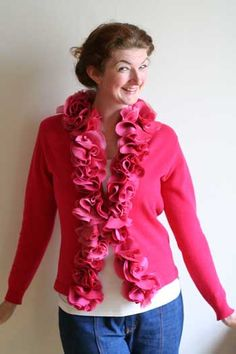 Tutorial: Add a fluffy chiffon rosette collar to a cardigan | Blog | allyson-BLOG - Yahoo! Blog
