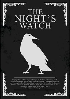 The Night's Watch - Game of Thrones - Ficção/Fantasia - Séries | Posters Minimalistas