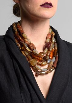 Monies UNIQUE Amber, Carnelian, Gold Coral, Bone, Agate, & Carved Beads Necklace | Santa Fe Dry Goods